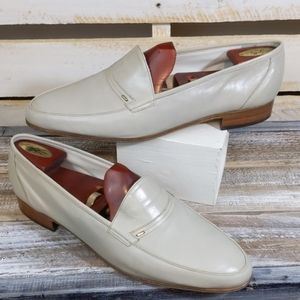 Men's  leather Bally beige loafer shoes size 11